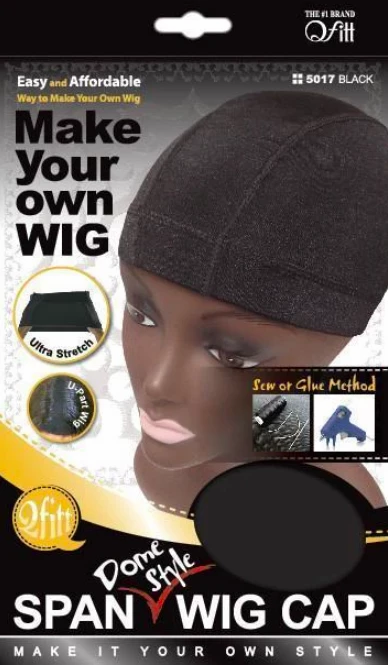 Spandex Dome Style Wig Cap Black 3 Pack