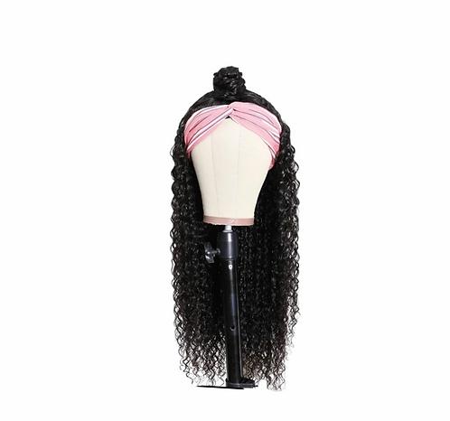 Curly Hair HeadBand Human Half Wig