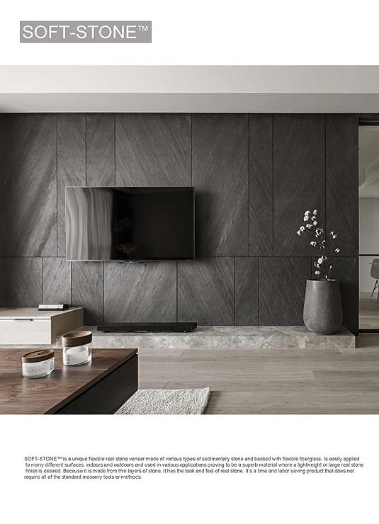 Grey texture stone wall panel at TV feature wall