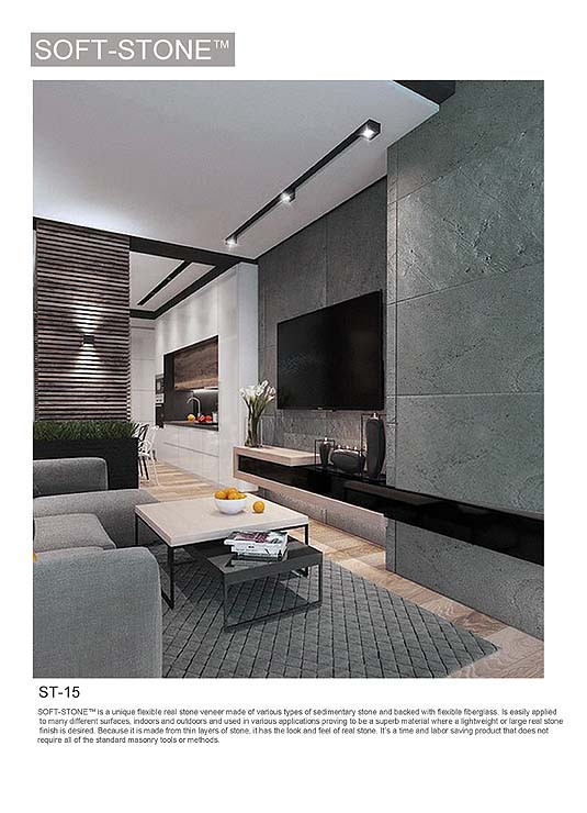 stone wall tv feature wall panel