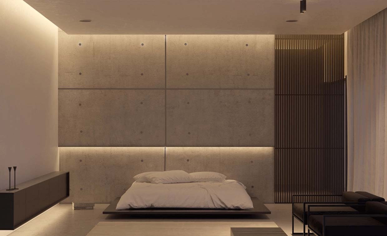 concrete wall panel at bedroom