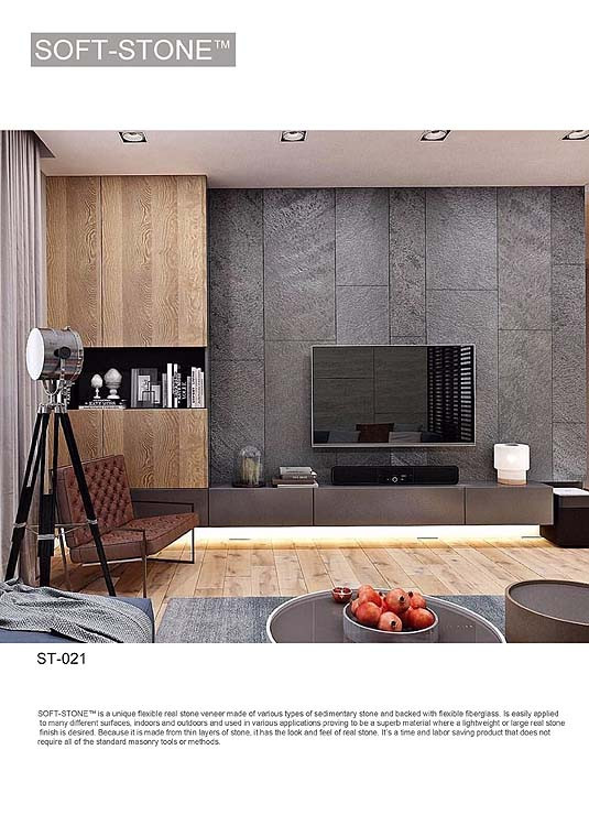 tv feature wall in stone finish