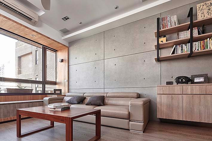 faux concrete wall panel at living room