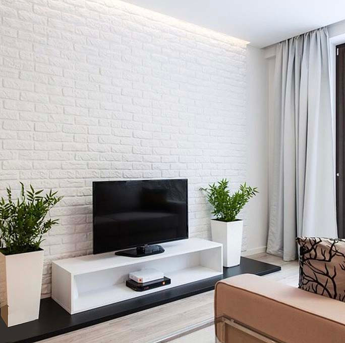 White brick wall panel