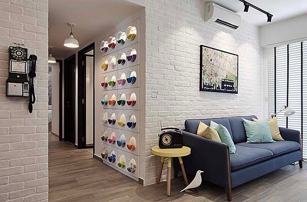 White brick wall panel in living room