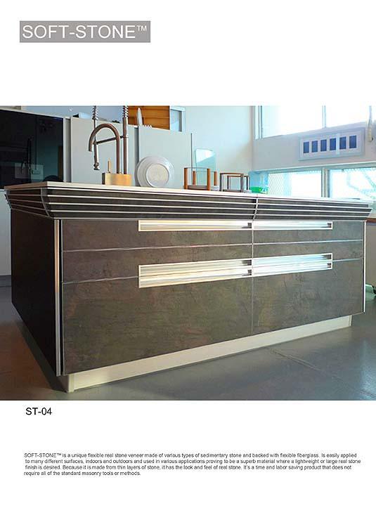 Stone veneer kitchen cabinet