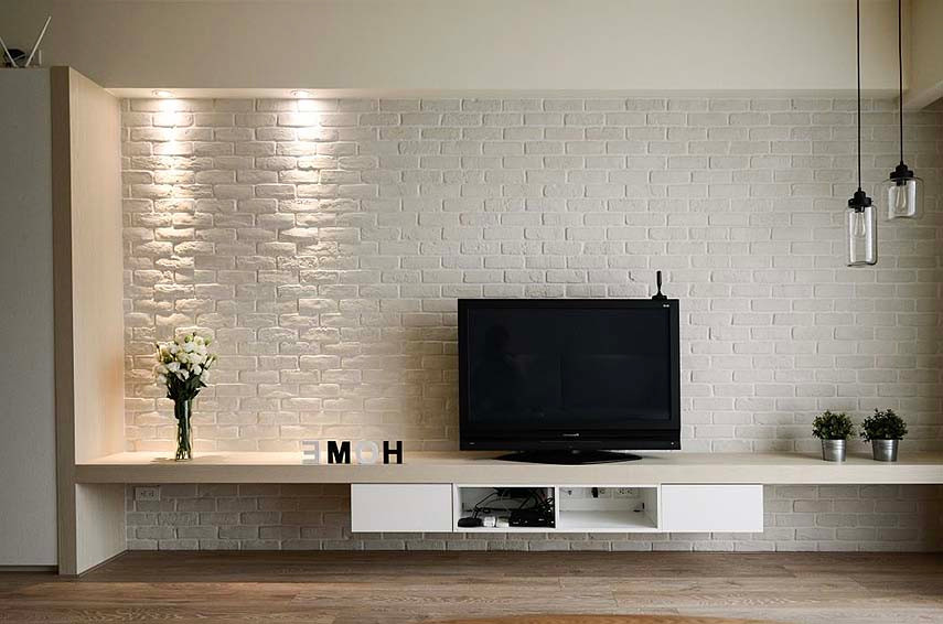 White Brick wall TV feature wall