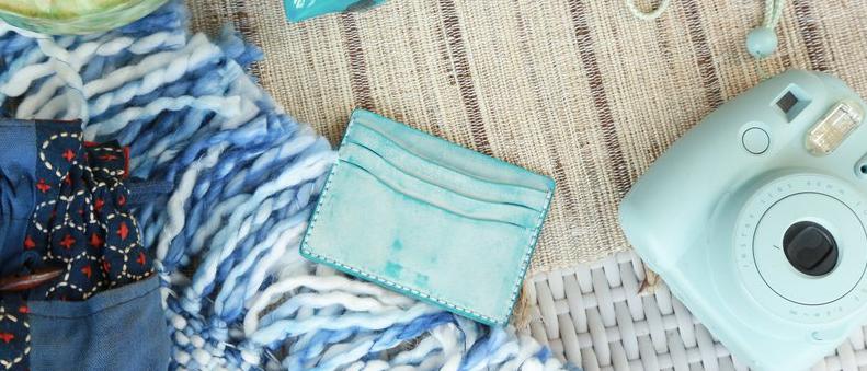 材料包, 皮製錢夾材料包, 拼色卡片短錢包手縫材料包