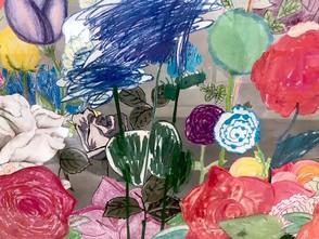 Rose work in progress, Detail 1 Mixed media on Lexan glass