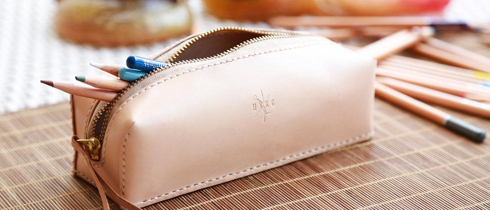 植鞣手縫真皮革立體筆袋,可客化