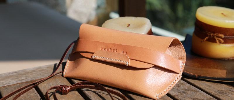 手縫皮製眼鏡盒, 太陽眼鏡盒 旅行必備 可客製化