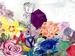 Rose work in progress, Detail 2 Mixed media on Lexan glass