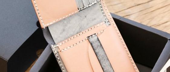 材料包 (皮製短夾材料包, 拼色短錢包配零錢格手縫材料包)