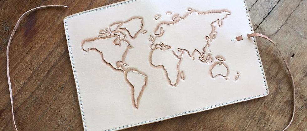 皮雕世界地圖護照夾 ,護照套