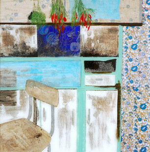 the old lady's cupboards, layers-years of colour and texture