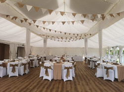 Hessian, lace and ivory Bunting
