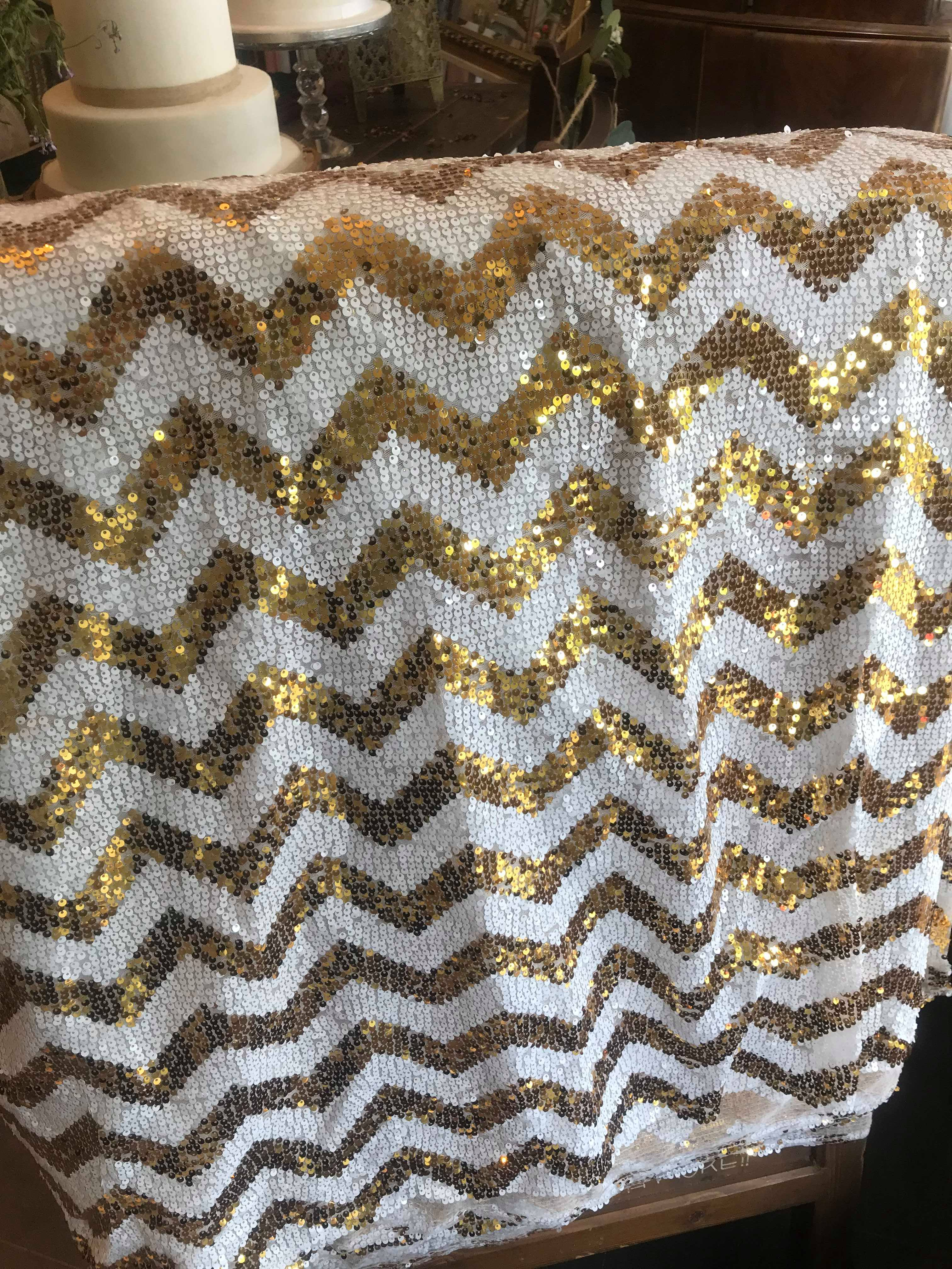 Gold and White chevron cloth
