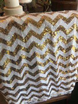 Gold and White chevron cloth