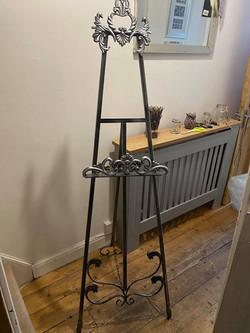 Ornate silver easel
