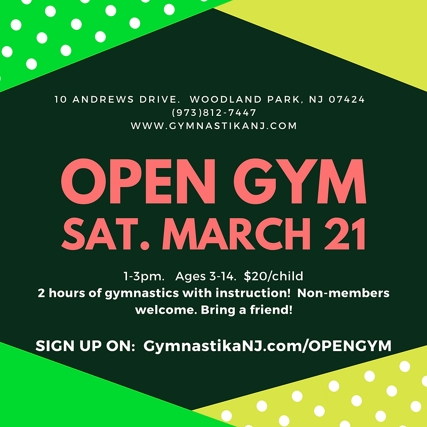 Open Gym:  Saturday, March 21st