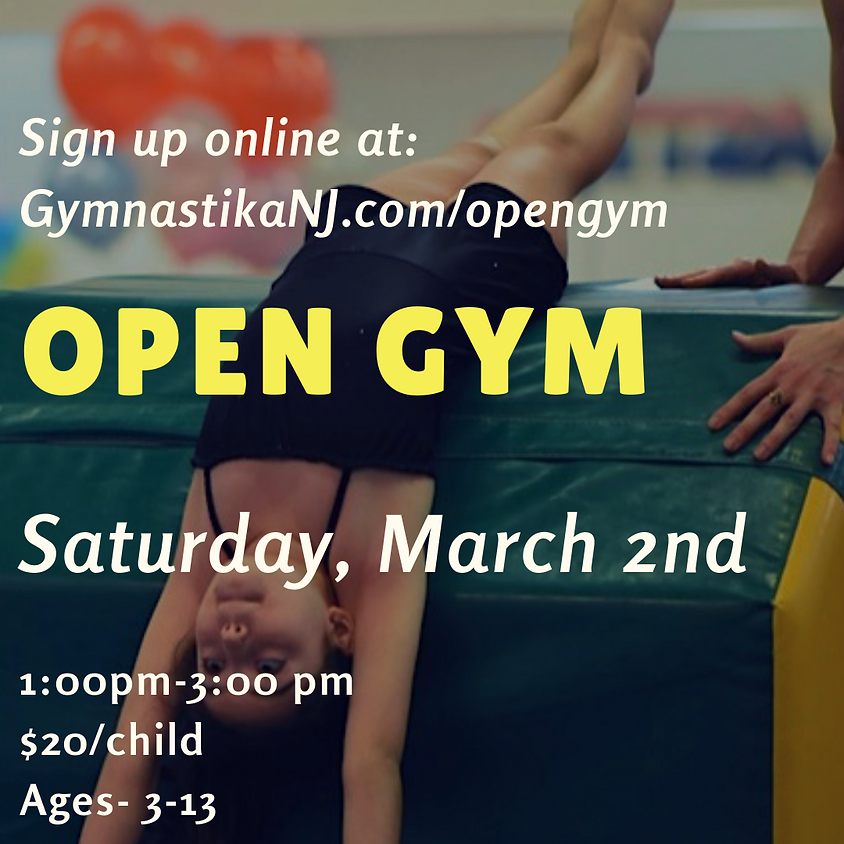 Open Gym:  Saturday, March 2nd