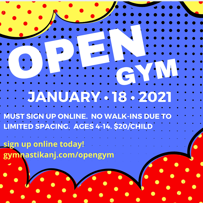 Open Gym:  Monday, January 18th !