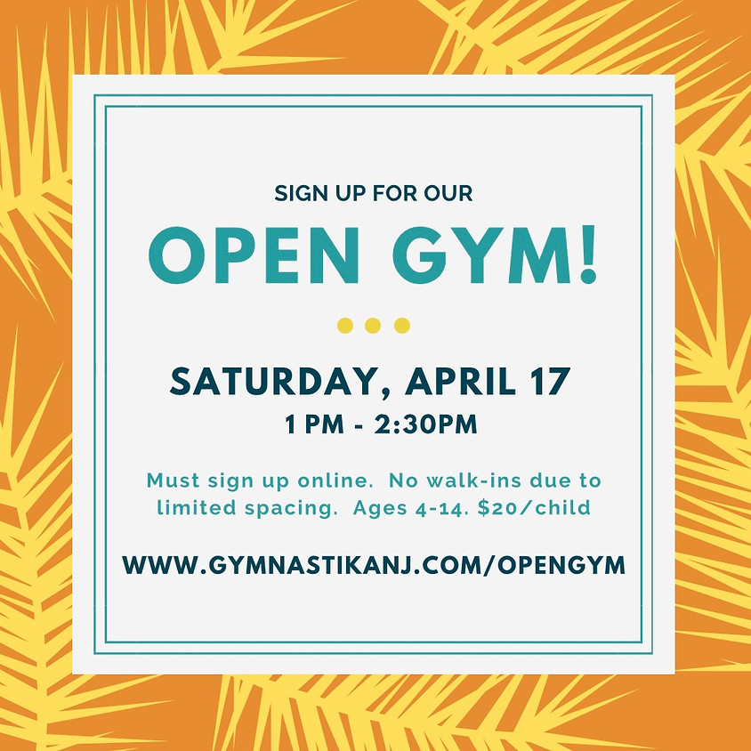 Open Gym:  Saturday, April 17th