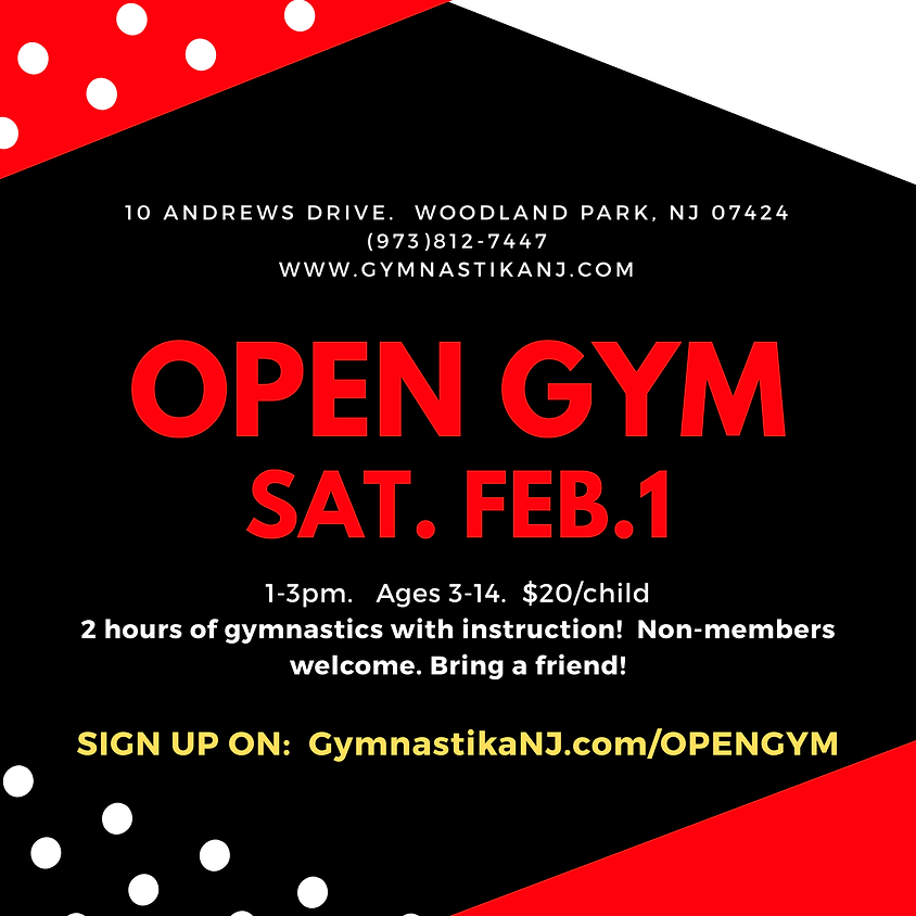 Open Gym:  Saturday, February 1st