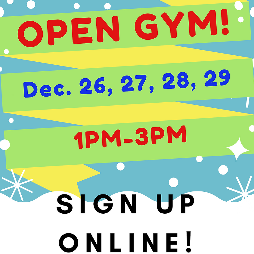 Open Gym:  Saturday, December 29th