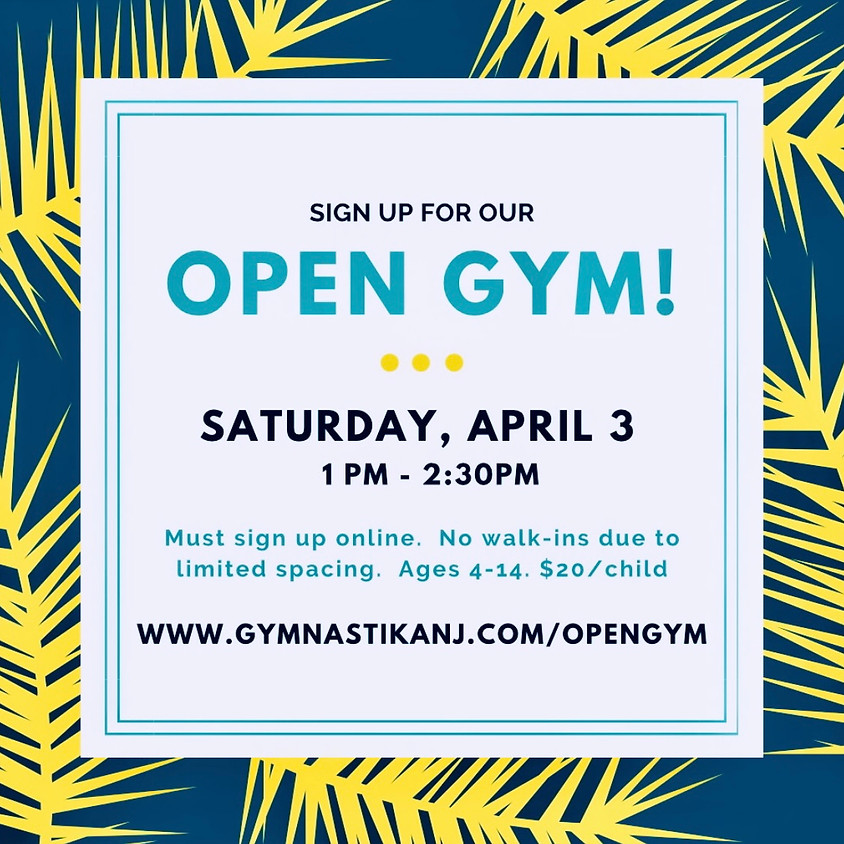 Open Gym:  Saturday, April 3rd
