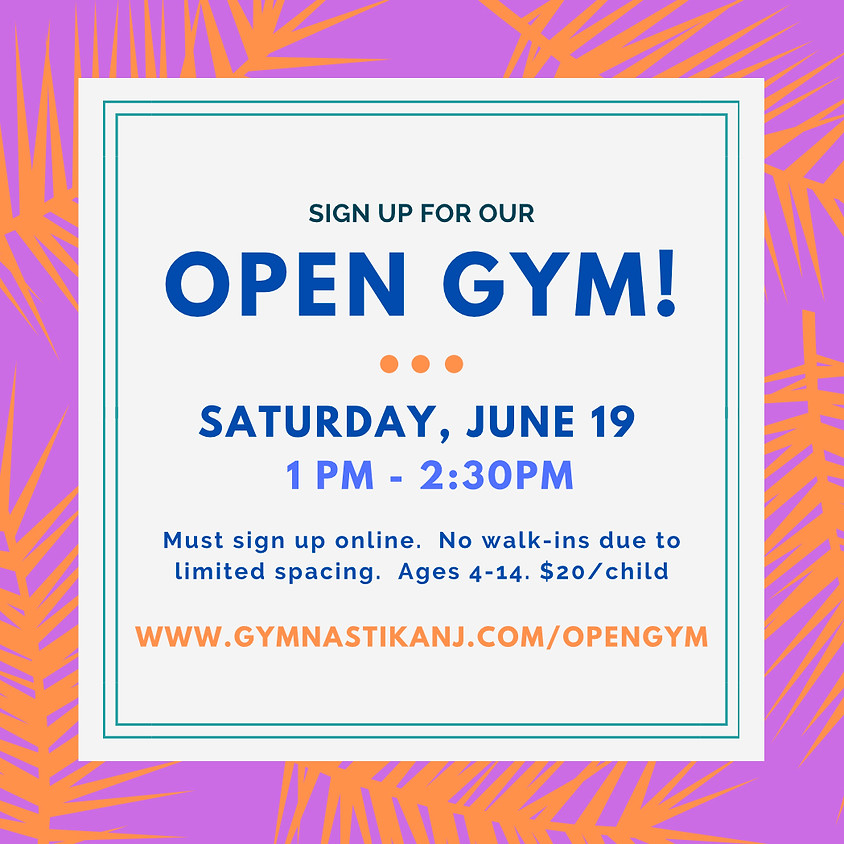 Open Gym:  Saturday, June 19th (last open gym until the fall!)