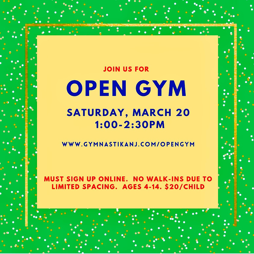 Open Gym:  Saturday, March 20th