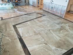 Porcelain kitchen floor,the black border