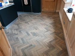 Heringbone kitchen floor