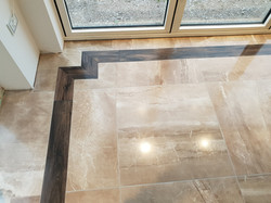Marble porcelain tile with mahogany wood