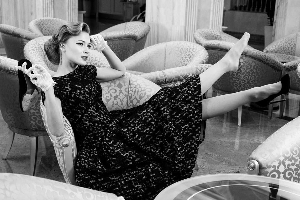 """Strike a Pose"" Fashion film, photo by Mitya Melnik, model Dasha Mashanova, costume designer Ginger Jackie, beauty salon Aldo Coppola, Radisson Royal Hotel Moscow"