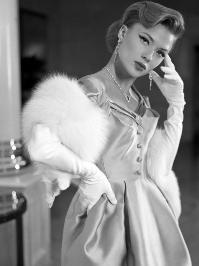 """Strike a Pose"" Fashion film, Photo by Tania Kupriyanova, model Dasha Mashanova, costume designer Ginger Jackie, Jewerlry House Cluev, furs Via Cappella, beauty salon Aldo Coppola, Radisson Royal Hotel Moscow"