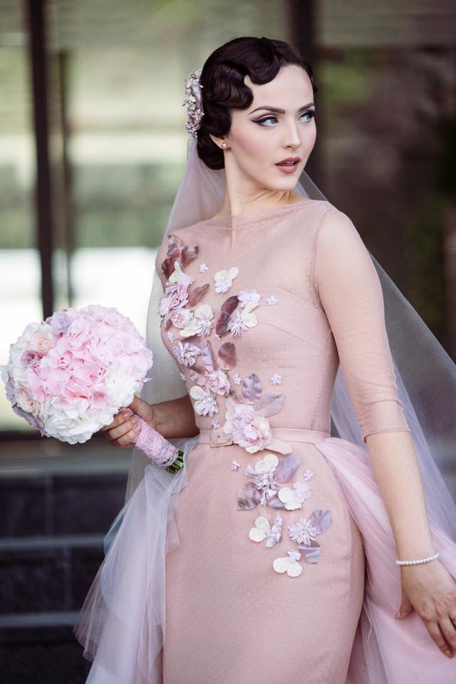 Idda van Munster wearing Ginger Jackie`s custom made  wedding dress