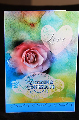 5x7 Pastel Water-Coloured Bkg. Wedding Congrats
