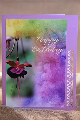 HB Watercolour Bkg. Single Fuscia Bloom