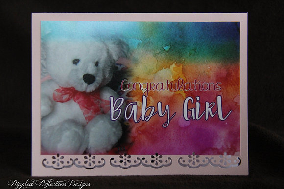 Baby Girl - Watercoloured Background Teddy