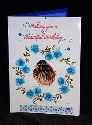 5x7 Tiny Sparrow Blue Floral Wreath