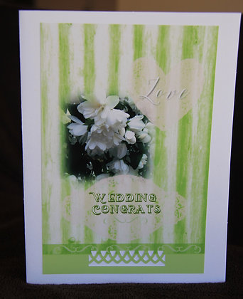 White and Green Strips Wedding Congrats