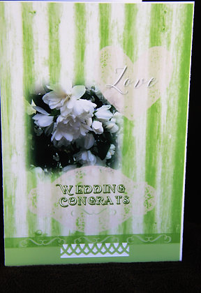 5x7 White and Green Stripe Wedding Congrats