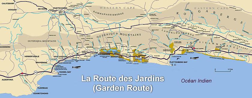 Carte de la Garden Route en Afrique du Sud