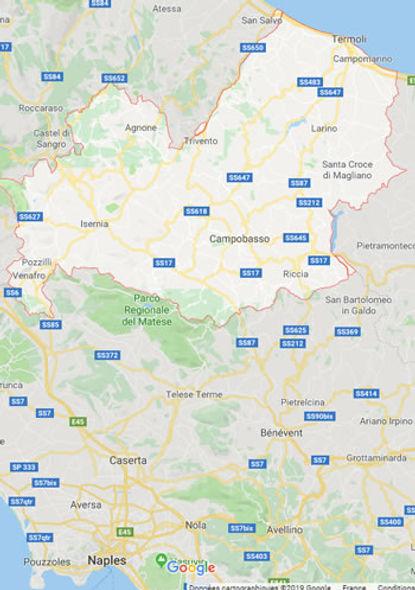Carte du Molise, Italie
