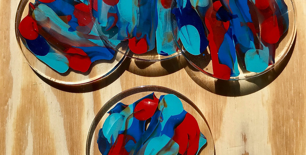 Abstract Red/Navy/Baby Blue Coasters Four Set