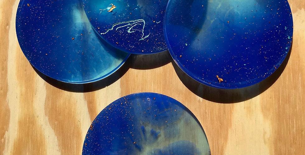 Whimsical Blue, Gold Specks Coasters Four Set