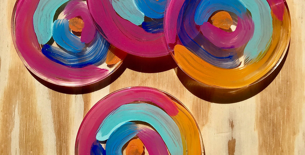 Circular Paint Strokes Coasters Four Set