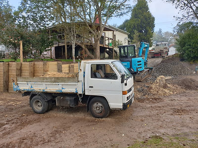 Excavator and Truck at Excavation Job